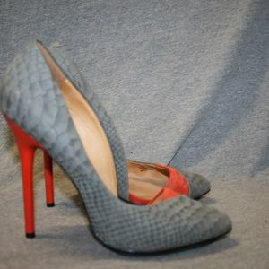 New L.A.M.B. Gray Snake Leather Pumps 7.5 M